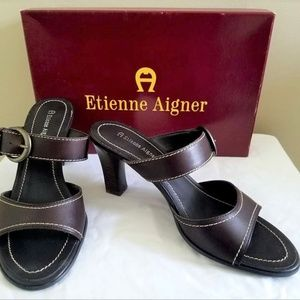 Etienne Aigner deep brown leather slip on sandals
